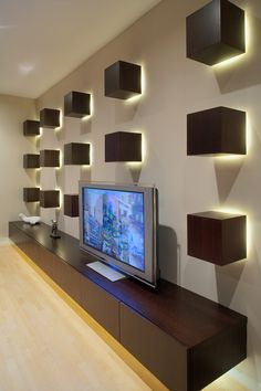 tv display decoration contemporary home theater boxes lights freestanding tv shelf interior design of Brilliant TV Display Decoration Ideas to Try