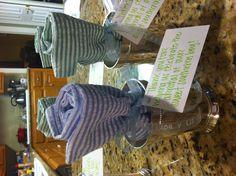 Baby shower hostess gifts! Mint julep cup and seersucker tea towel.