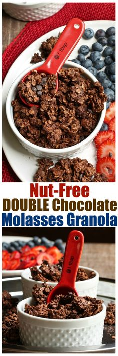 Nut-Free Double Chocolate Molasses Granola. A kid-friendly oil-free granola full of chocolate flavor, molasses, sunflower kernels and ready in 30 minutes!