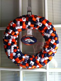 Denver Bronco's Ribbon Wreath by KKsHandmadeWreaths on Etsy, $25.00