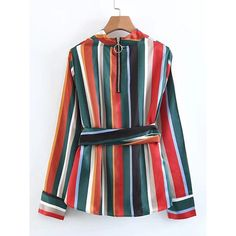 SheIn(sheinside) Block Striped Self Tie Blouse (€17) ❤ liked on Polyvore featuring tops, blouses, striped long sleeve top, sleeve blouse, belted blouse, zipper blouse and multi color blouse