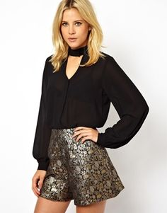 Image 1 of ASOS Blouse with High Neck and Cut Out Detail- ASOS in Black
