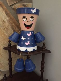 Flower Pot People with Butterflies by ShadyPenguins on Etsy
