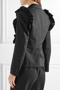 Comme des Garçons Comme des Garçons | Ruffle-trimmed pinstriped wool blazer | NET-A-PORTER.COM