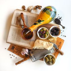 © Aidan Sartin Conte • Olio Evo • Parmigiano Reggiano 24 Months • Dried Porcini • Garlic • Cerignola Olives • Picholine Olives • Kalamata Olives • Maroccan Salt-Cured Olives • Black Peppercorn