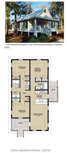Small Scale Homes- New Katrina Cottages and Bungalows House Plans LLC Cottages And Bungalows, Cabins And Cottages, Cottage Plan, Cottage Homes, Small House Plans, House Floor Plans, Building Plans, Building A House, Tiny House Living