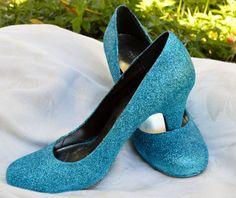 GLITTER Custom Wedding Shoes Blue or ANY by WeddingWhatKnots