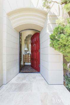 traditional neutral entry with red door of an historic 1908 Pacific Heights home Doors, Home, House Built, Luxe Interiors, Porch Styles, Door Color, Entry Foyer, Door Dividers, Interior Design