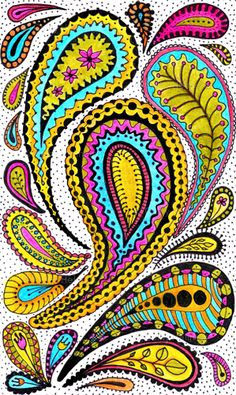 fabric  Paisley Print  yellow pink turquoise