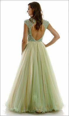 A-line Beaded Top Prom Ball Gown #mintpromdress #pinkpromdress #a-lineballgown