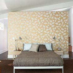 headboard wall with closet behind it...maybe different wallpaper