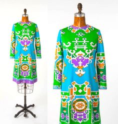 Super-rare, vintage 60s psychedelic, Asian-print DON MARSHALL midi (Don Marshall was mostly known for designing & making hats & this label has put out an extremely limited number of dresses, which is why they are super-collectible). This was one sold to my private German client earlier this year.
