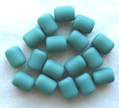 17 green faux sea glass barrel beads, turquoise green round short tube beads, 10 x 8mm frosted, satin, matte glass beads C0701