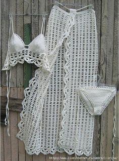 crochet Sarong Crochet Pareo B Motif Bikini Crochet, Beach Crochet, Crochet Baby, Knit Crochet, Crochet Clothes, Diy Clothes, Crochet Lingerie, Mode Crochet, Crochet Fashion