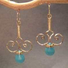 Nouveau 59 Hammered wired swirl drops with by CalicoJunoJewelry, $98.00