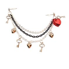 Double Piercing Swarovski Crystal Heart Key