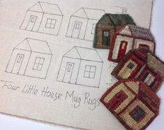 Rug Hooking Pattern, Little House Mug Rugs, on Primitive Linen or Monks Cloth, J805