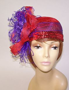 Red Hat Pillbox Style w Ostrich Feathers Red Hat Ladies of Society Derby Day | eBay