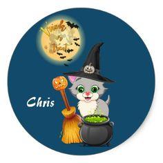 Grey Kitten Halloween Cartoon Classic Round Sticker - diy cyo customize create your own personalize