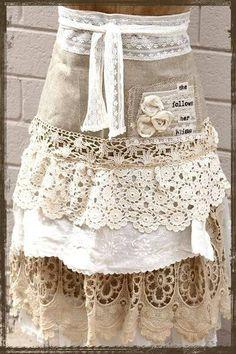 ❥ vintage lace apron