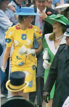 Diana with Sarah Ferguson at Royal Ascot 1987