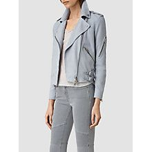 Buy AllSaints Latham Biker Jacket, Sky Blue Online at johnlewis.com