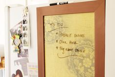 Acute Designs: Dry Erase board stenciled with lace doilies