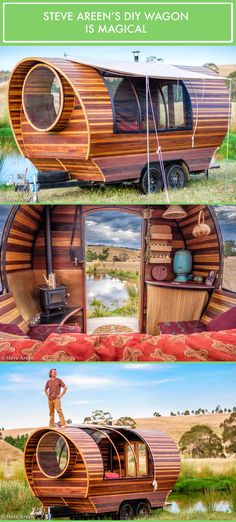 Steve Areen's incredible DIY wagon home built with mostly recycled materials. Absolutely loved this guy on Living Big in a Tiny House! Camping Con Glamour, Gypsy Trailer, Gypsy Caravan, Gypsy Wagon, Diy Camper, Tiny House Living, Gypsy Living, Tiny House Design, House On Wheels