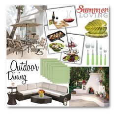 """""""outdoor dining"""" by summer-marin ❤ liked on Polyvore featuring interior, interiors, interior design, home, home decor, interior decorating, Spectrum, Vinotemp, Christopher Knight Home and Certified International"""