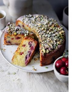 Cherry, Pistachio & Marzipan cake: Serves 6-8 300g cherries, pitted, finely chopped  150g marzipan* (see notes), chopped into 1cm pieces  1 cup (150g) self-raising flour, sifted, plus 1 tbs extra  225g unsalted butter, softened  185g caster sugar  Finely grated zest of 1 lemon  1 tsp orange blossom water* (see notes)  4 eggs  MORE....