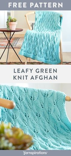Free Leafy Green Knit Afghan pattern using Caron One Pound yarn. This beautiful leaf inspired knit lace panel is a great way to build on your knitting skills! Caron One Pound comes in a large skein and a variety of colors plus, its machine washable! #Yarnspirations #FreeKnitPattern #LaceKnit #LaceKnitting #KnitLace #KnitBlanket #KnitThrow #KnitAfghan #CaronYarn #CaronOnePound Knit Lace, Lace Knitting, Knitting Patterns Free, Free Pattern, Knit Crochet, Crochet Patterns, Knitted Afghans, Knitted Blankets, Caron One Pound Yarn
