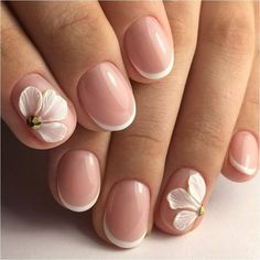 French manicure ideas 2020 French nail art Hardware nails Ideas of gentle nails modeling nails Nails with acrylic powder Party nails Pastel nail designs French Nail Art, French Tip Nails, Short French Nails, Hot Nail Designs, Bride Nails, Hot Nails, Gel Nail Art, Flower Nails, Beautiful Nail Art