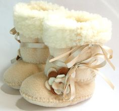 Cafe Latte Baby Boots Ugg Style Fleece Baby Booties with Faux Sheepskin Fur Baby Girl Boots