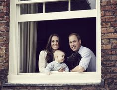 The royals posed for an adorable family portrait with Prince George and their dog, Lupo, in March.
