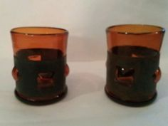Set of Vintage Hand Blown Amber Bubble Glasses with With Metal Wrap