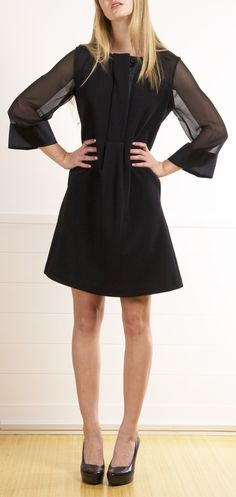 Black Dress with Bell Sheer Sleeves