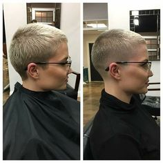 There is Somthing special about women with Short hair styles. I'm a big fan of Pixie cuts and buzzed cuts. Short Grey Hair, Short Hair Cuts, Pixie Cuts, Buzz Cut Women, Buzz Cuts, Men's Cuts, Shaved Pixie, Shaved Hair Cuts, Short Sassy Haircuts
