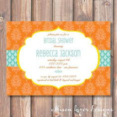 Tangerine and Aqua Damask Printable Invitation Bridal Shower Bright & Colorful Orange Baby Shower Ge