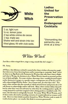 White Witch - Keep the recipe, scrap the moral lecture. :p