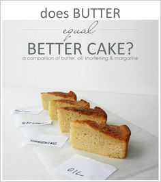 Does butter = a better cake? Comparison of cake baking with butter, oil, shortening and margarine