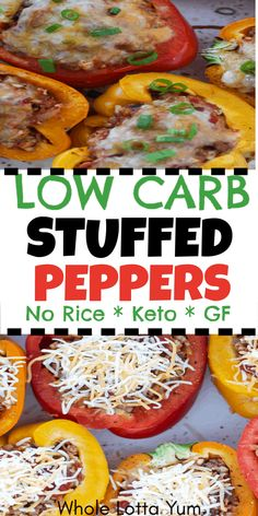 The Best Low Carb & Keto Stuffed Peppers! Low carb and keto stuffed peppers make an easy dinner idea, these stuffed peppers do not have rice and are only 7 net carbs each! carb recipes for dinner Beef Recipes, Cooking Recipes, Healthy Recipes, Recipies, Meatloaf Recipes, Potato Recipes, Soup Recipes, Easy Recipes, Low Carb Stuffed Peppers