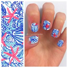 """My Lilly Pulitzer nail art design inspired by the print """"She She Shells"""""""