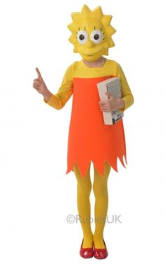 Child Lisa Simpson Costume The Simpsons Girls Fancy Dress Kids Outfit M Yrs