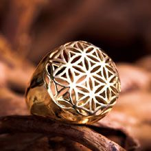 The whole universe in one jewel!  The Flower of life ring is excellent for healing & helps one to connect to the higher self. The flower of life shape contains a secret -it consists of 13 spheres that hold many mathematical and geometrical laws. Giving the flower of life to someone is like giving them the whole universe in one jewel.  Size: 2.1cm/2.1cm -  0.8Inch/0.8Inch Metal: Solid Gold 14K Yellow Price:$1390 Click on image to order.