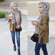 olive blouse with jeans, Hijab looks by Sincerely Maryam http://www.justtrendygirls.com/hijab-looks-by-sincerely-maryam/
