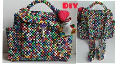 BEADED BACKPACK TUTORIAL//HOW TO MAKE BEADED BACKPACK//HANDMADE BEADED B... Beaded Shoes, Beaded Bags, Backpack Tutorial, How To Make Beads, Beautiful Bags, Bead Weaving, Bead Crafts, Hand Bags, Seed Beads