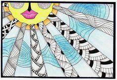 Sun lines zentangles
