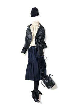 コーディネート一覧 / Kyoko Kikuchi's Closet|菊池京子のクローゼット Street Style 2017, Fashion Books, Jacket Style, Daily Fashion, Autumn Winter Fashion, Casual Wear, Outfit Of The Day, What To Wear, Leather Jacket