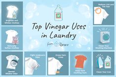 Here are the top ten reasons to use distilled white vinegar in laundry to whiten, brighten, reduce odor, soften, and remove underarm stains from clothes. Baking Soda In Laundry, Vinegar In Laundry, Laundry Detergent, Remove Odor From Clothes, How To Whiten Clothes, Washing Clothes, Whiten White Clothes, Cleaning White Clothes, Deep Cleaning Tips