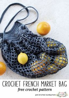 Crochet this easy french market tote bag by Two of Wands from my best blogger free patterns from 2017 roundup!